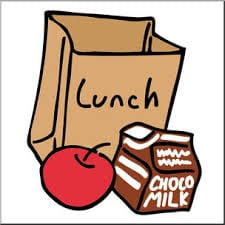 Brown bag lunch, including chocolate milk and an apple