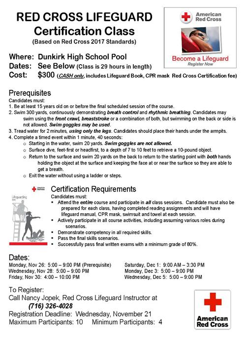 Red Cross Lifeguard Course Flyer