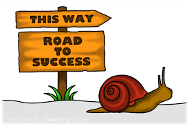 Snail following a sign that leads to the road to success