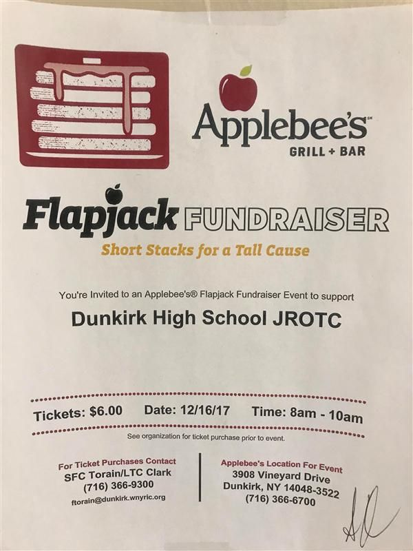 GET YOUR FLAPJACKS AT APPLEBEE'S THIS SATURDAY DEC. 16 TO SUPPORT JROTC