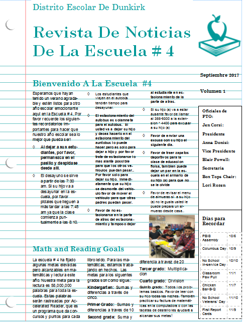 September Newsletter-Spanish